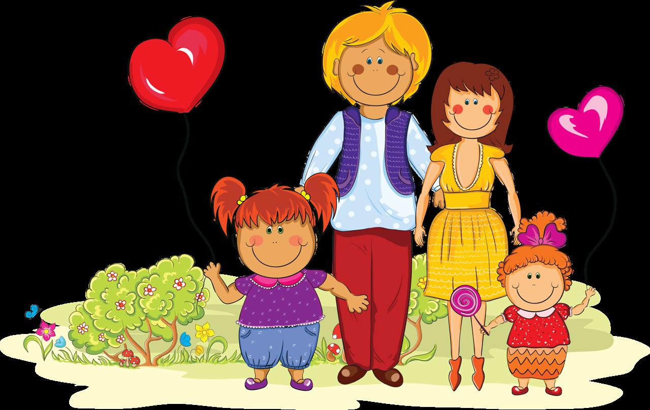 Открытки февраля, родители с детьми картинки рисованные